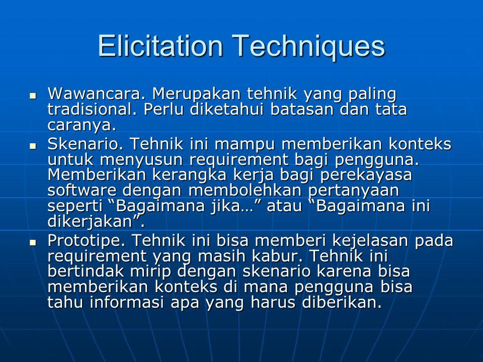 Elicitation Techniques Wawancara. Merupakan tehnik yang paling tradisional. Perlu diketahui batasan dan tata caranya. Wawancara. Merupakan tehnik yang