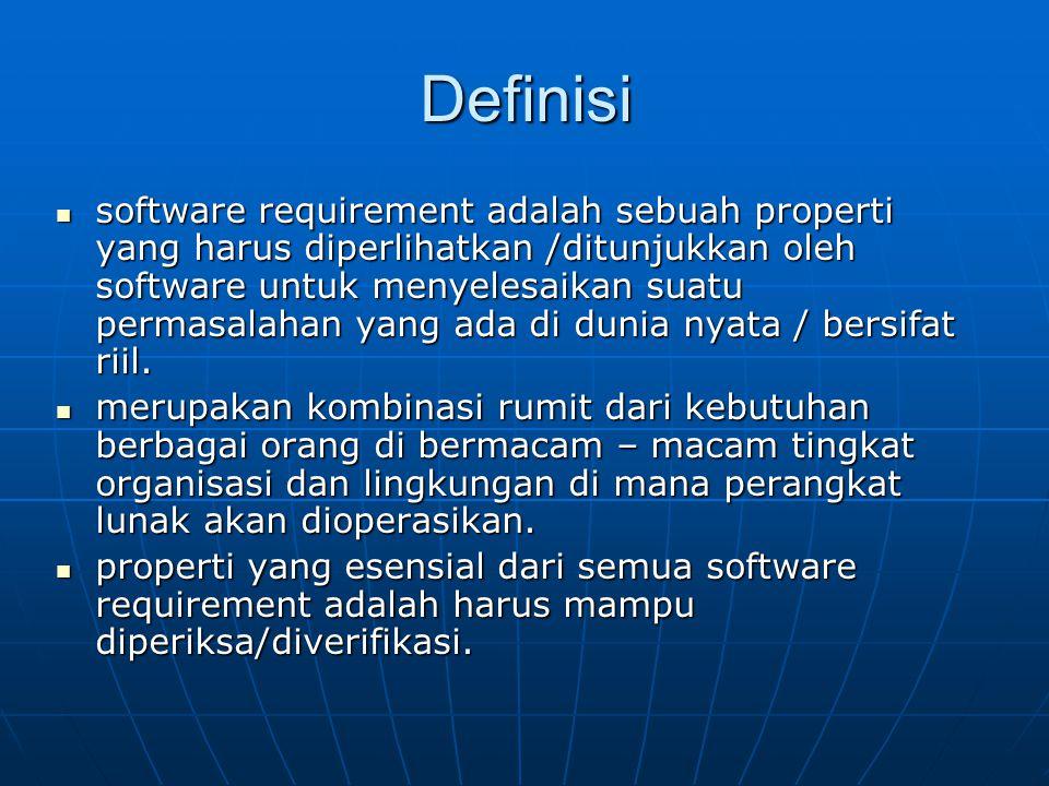 Definisi software requirement adalah sebuah properti yang harus diperlihatkan /ditunjukkan oleh software untuk menyelesaikan suatu permasalahan yang a