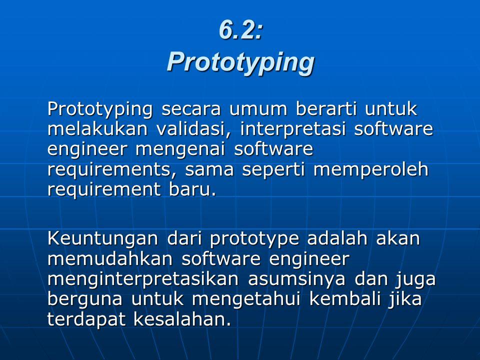 6.2: Prototyping Prototyping secara umum berarti untuk melakukan validasi, interpretasi software engineer mengenai software requirements, sama seperti