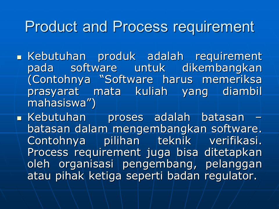 """Product and Process requirement Kebutuhan produk adalah requirement pada software untuk dikembangkan (Contohnya """"Software harus memeriksa prasyarat ma"""