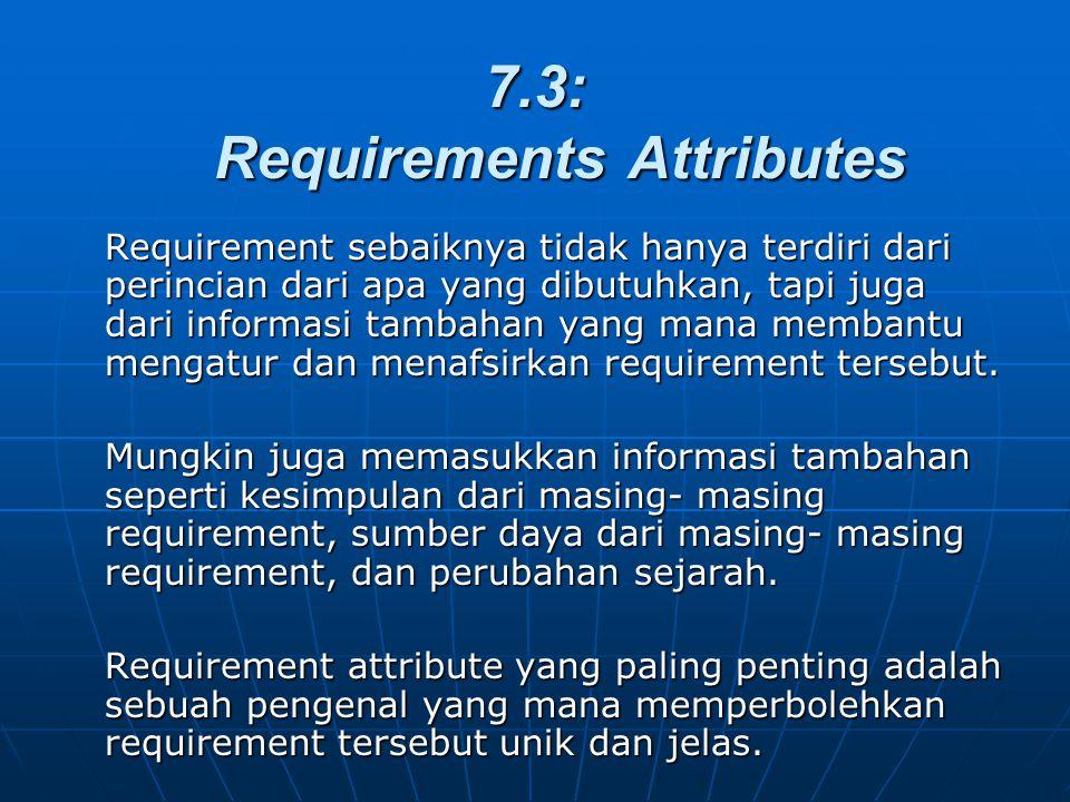 7.3: Requirements Attributes Requirement sebaiknya tidak hanya terdiri dari perincian dari apa yang dibutuhkan, tapi juga dari informasi tambahan yang