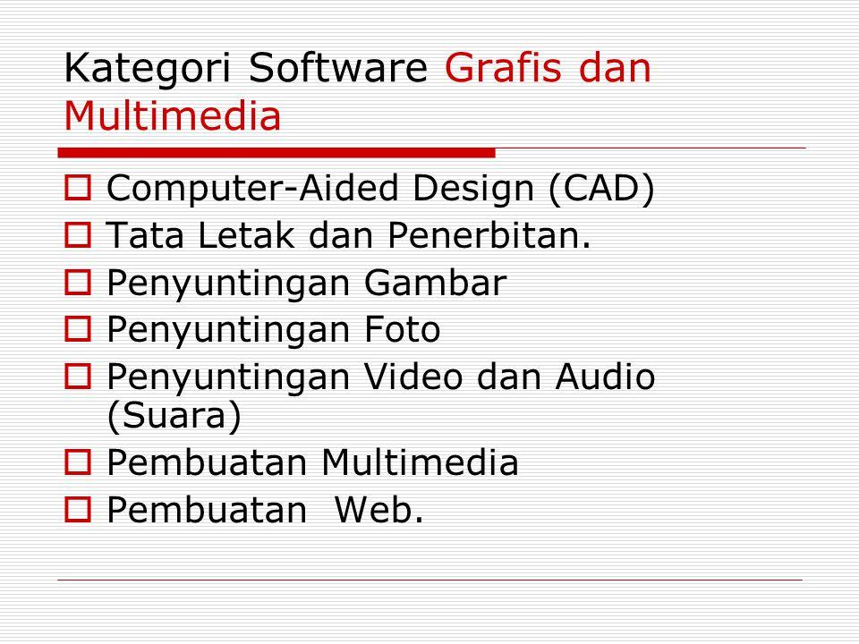 Kategori Software Grafis dan Multimedia  Computer-Aided Design (CAD)  Tata Letak dan Penerbitan.  Penyuntingan Gambar  Penyuntingan Foto  Penyunt