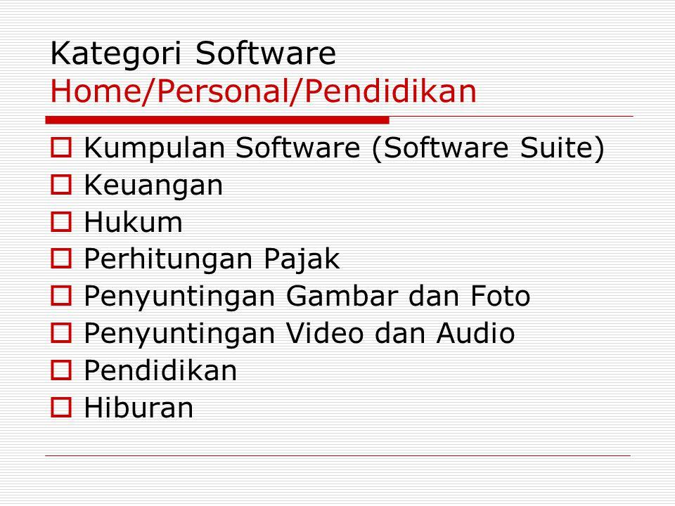 Kategori Software Home/Personal/Pendidikan  Kumpulan Software (Software Suite)  Keuangan  Hukum  Perhitungan Pajak  Penyuntingan Gambar dan Foto