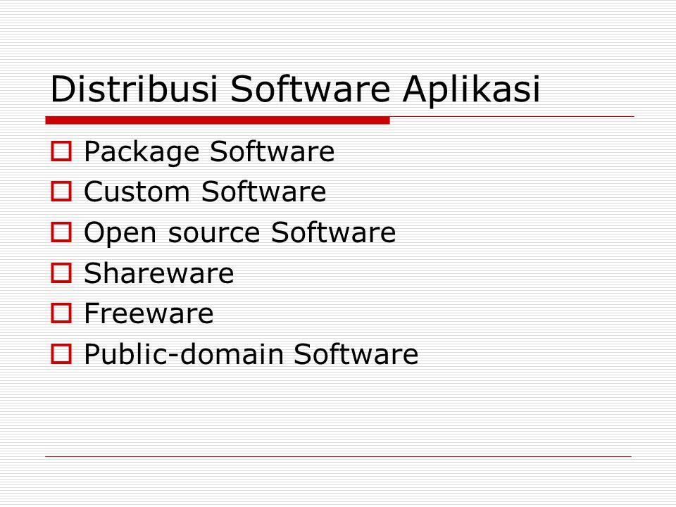 Distribusi Software Aplikasi  Package Software  Custom Software  Open source Software  Shareware  Freeware  Public-domain Software