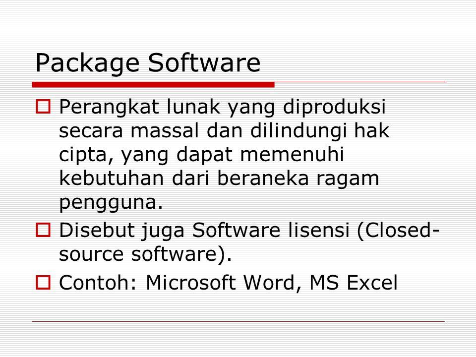 Package Software  Perangkat lunak yang diproduksi secara massal dan dilindungi hak cipta, yang dapat memenuhi kebutuhan dari beraneka ragam pengguna.