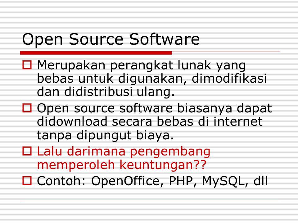 Open Source Software  Merupakan perangkat lunak yang bebas untuk digunakan, dimodifikasi dan didistribusi ulang.  Open source software biasanya dapa