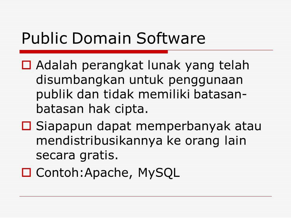 Public Domain Software  Adalah perangkat lunak yang telah disumbangkan untuk penggunaan publik dan tidak memiliki batasan- batasan hak cipta.  Siapa