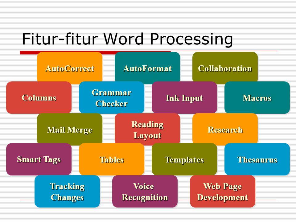 Fitur-fitur Word Processing AutoFormatAutoFormatAutoCorrectAutoCorrectCollaborationCollaboration ColumnsColumnsMacrosMacros Ink Input Grammar Checker