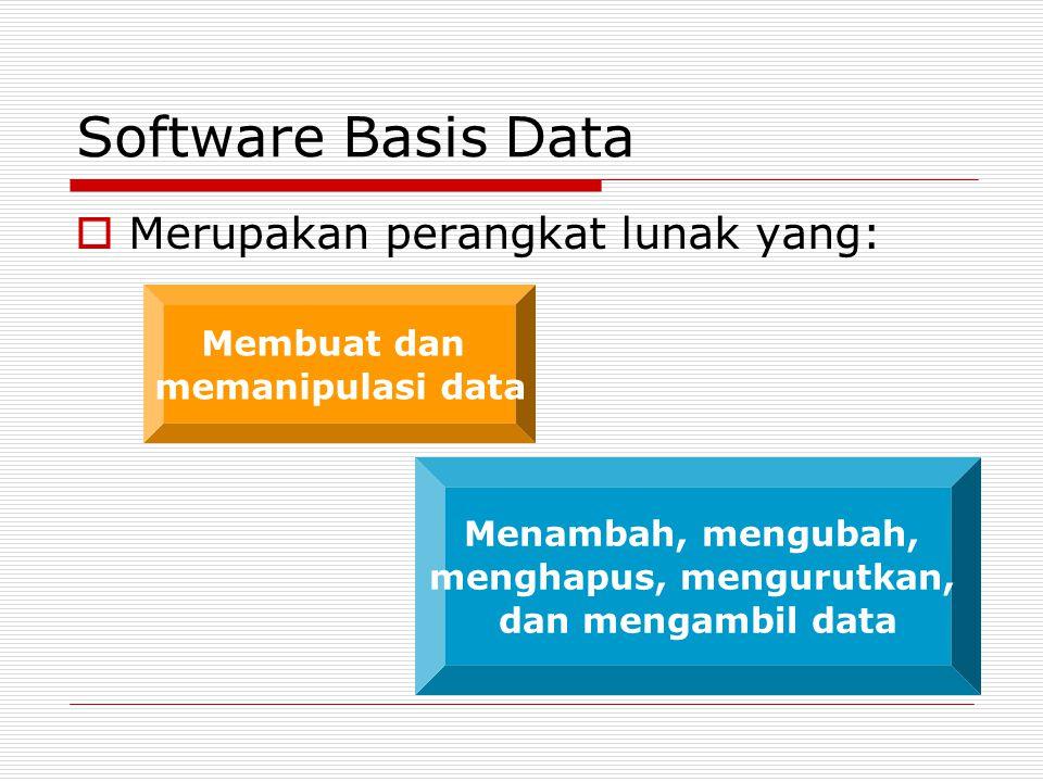 Software Basis Data  Merupakan perangkat lunak yang: Membuat dan memanipulasi data Menambah, mengubah, menghapus, mengurutkan, dan mengambil data