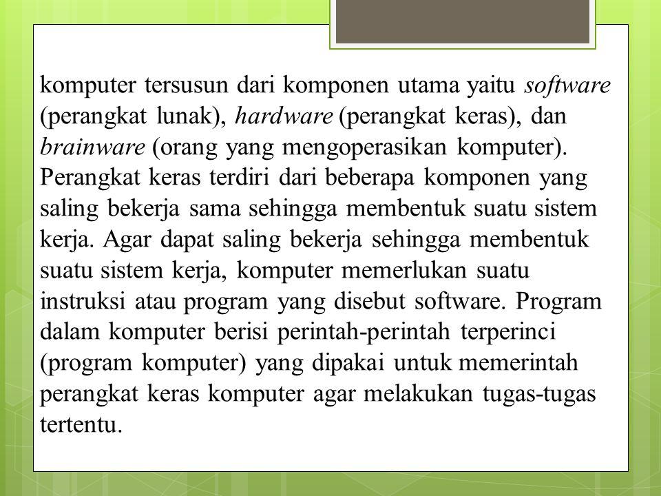 3.Utility system : sistem operasi yang merupakan perangkat lunak dengan fungsi tertentu misalnya pemeriksaan perangkat keras ; memeriksa kerusakan pada disk ; mengatur ulang isi harddisk ( partisi, defrag) contoh norton utility ; partition magic