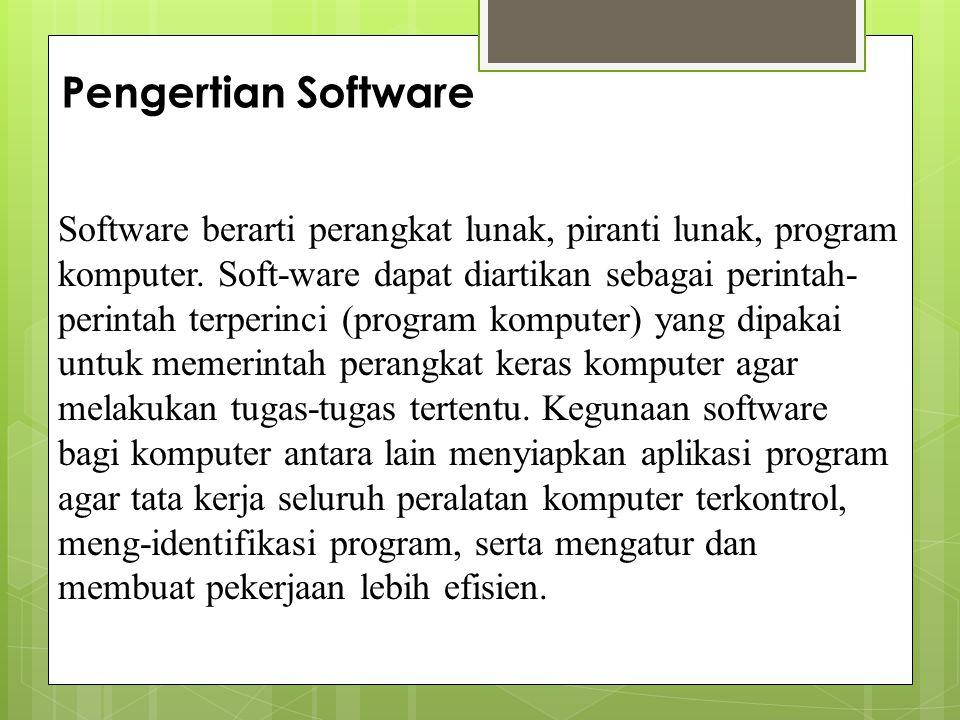 Program Suatu himpunan instruksi yang disusun dalam urutan dan aturan tertentu dengan menggunakan bahasa komputer agar komputer dapat melaksanakan instruksi-instruksi yang diberikan untuk menyelesaikan suatu masalah.