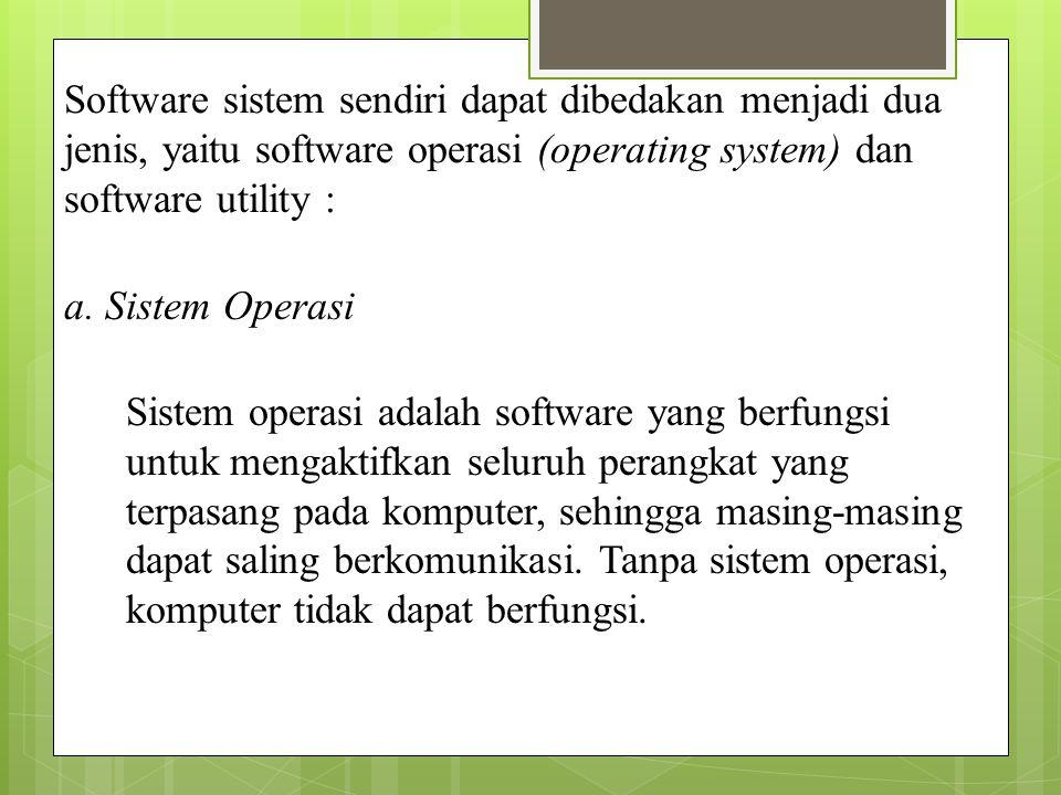 Software Program komputer, yang berisi instruksi-instruksi yang dapat membuat perangkat keras komputer bekerja.
