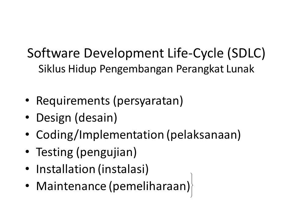 Software Development Life-Cycle (SDLC) Siklus Hidup Pengembangan Perangkat Lunak Requirements (persyaratan) Design (desain) Coding/Implementation (pelaksanaan) Testing (pengujian) Installation (instalasi) Maintenance (pemeliharaan)