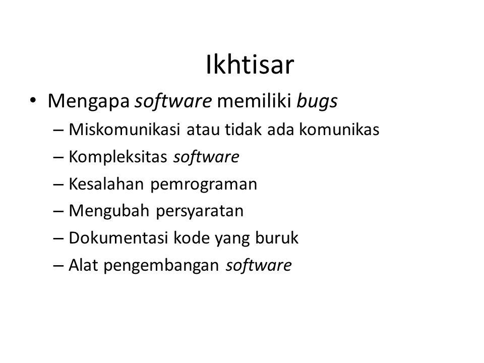 Ikhtisar Mengapa software memiliki bugs – Miskomunikasi atau tidak ada komunikas – Kompleksitas software – Kesalahan pemrograman – Mengubah persyaratan – Dokumentasi kode yang buruk – Alat pengembangan software