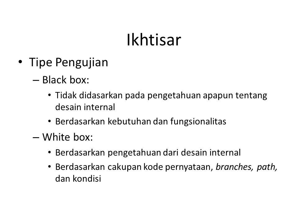 Ikhtisar Tipe Pengujian – Black box: Tidak didasarkan pada pengetahuan apapun tentang desain internal Berdasarkan kebutuhan dan fungsionalitas – White box: Berdasarkan pengetahuan dari desain internal Berdasarkan cakupan kode pernyataan, branches, path, dan kondisi