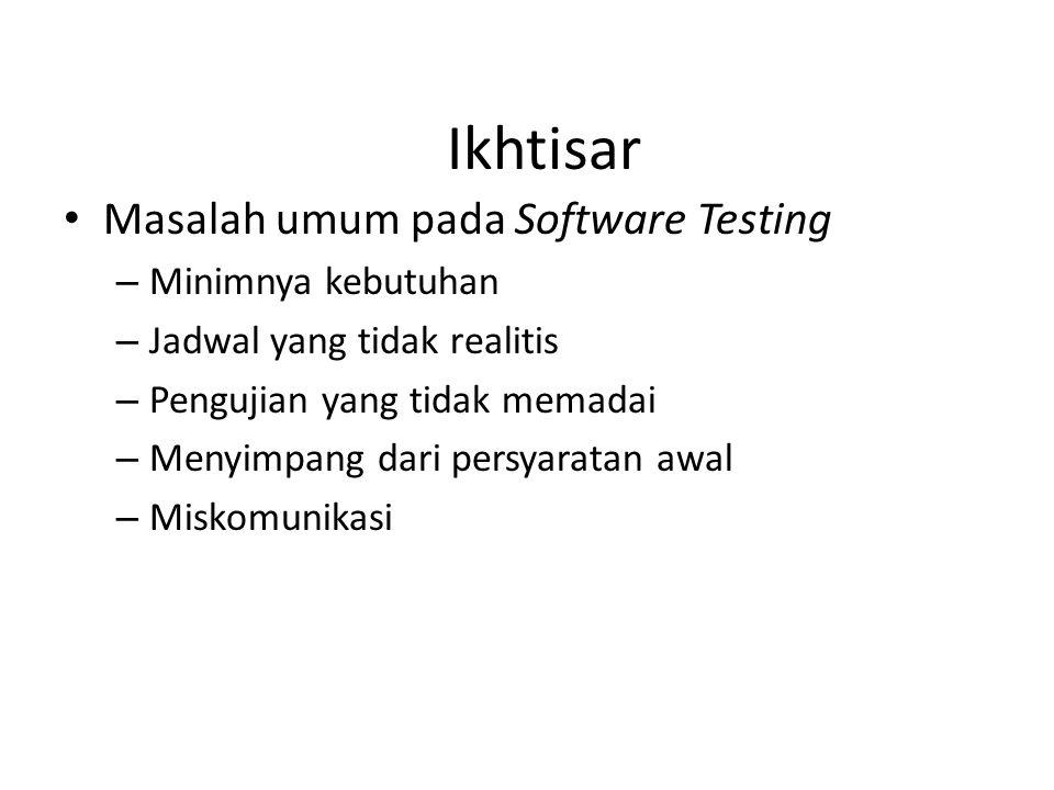 Ikhtisar Masalah umum pada Software Testing – Minimnya kebutuhan – Jadwal yang tidak realitis – Pengujian yang tidak memadai – Menyimpang dari persyaratan awal – Miskomunikasi