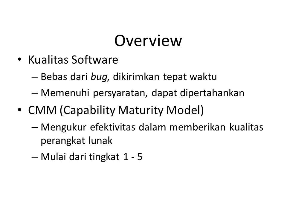 Overview Kualitas Software – Bebas dari bug, dikirimkan tepat waktu – Memenuhi persyaratan, dapat dipertahankan CMM (Capability Maturity Model) – Mengukur efektivitas dalam memberikan kualitas perangkat lunak – Mulai dari tingkat 1 - 5