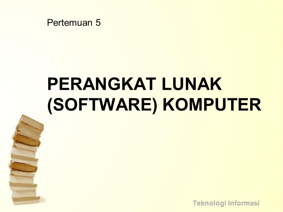 Pengertian Software Perangkat lunak (software) komputer adalah suatu perangkat yang berisi serangkaian instruksi, program, prosedur, pengendali, pendukung, dan aktivitas- aktivitas pengolahan perintah pada suatu sistem komputer.