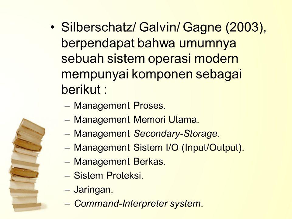 Silberschatz/ Galvin/ Gagne (2003), berpendapat bahwa umumnya sebuah sistem operasi modern mempunyai komponen sebagai berikut : –Management Proses. –M