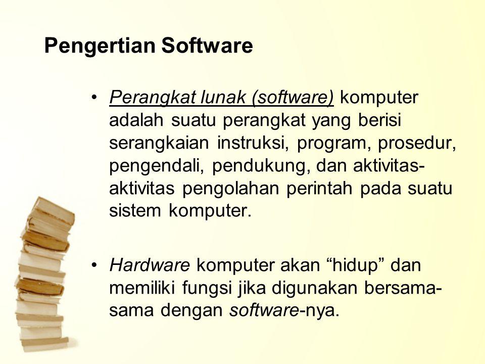 Pengertian Software Perangkat lunak (software) komputer adalah suatu perangkat yang berisi serangkaian instruksi, program, prosedur, pengendali, pendu