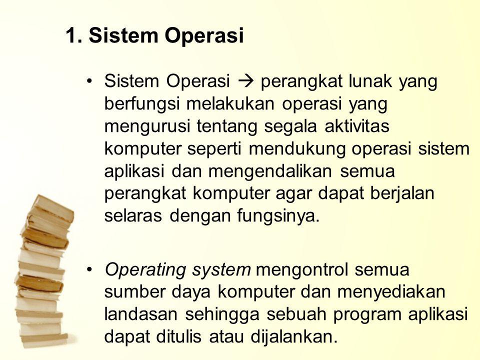 1. Sistem Operasi Sistem Operasi  perangkat lunak yang berfungsi melakukan operasi yang mengurusi tentang segala aktivitas komputer seperti mendukung