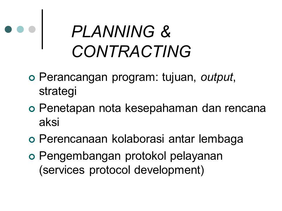 PLANNING & CONTRACTING Perancangan program: tujuan, output, strategi Penetapan nota kesepahaman dan rencana aksi Perencanaan kolaborasi antar lembaga Pengembangan protokol pelayanan (services protocol development)