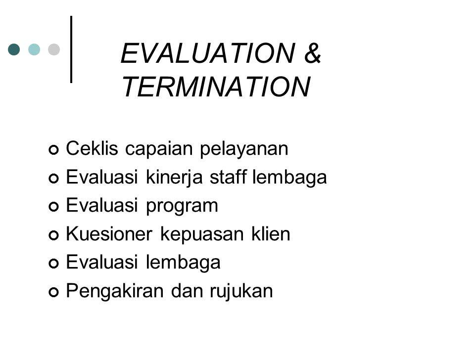 EVALUATION & TERMINATION Ceklis capaian pelayanan Evaluasi kinerja staff lembaga Evaluasi program Kuesioner kepuasan klien Evaluasi lembaga Pengakiran dan rujukan