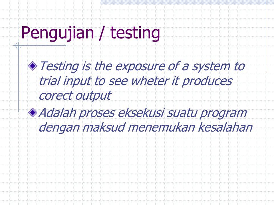 Pengujian perangkat lunak Elemen kritis dari jaminan kualitas perangkat lunak dan merepresentasikan kajian pokok dari spesifikasi, desain dan pengkodean