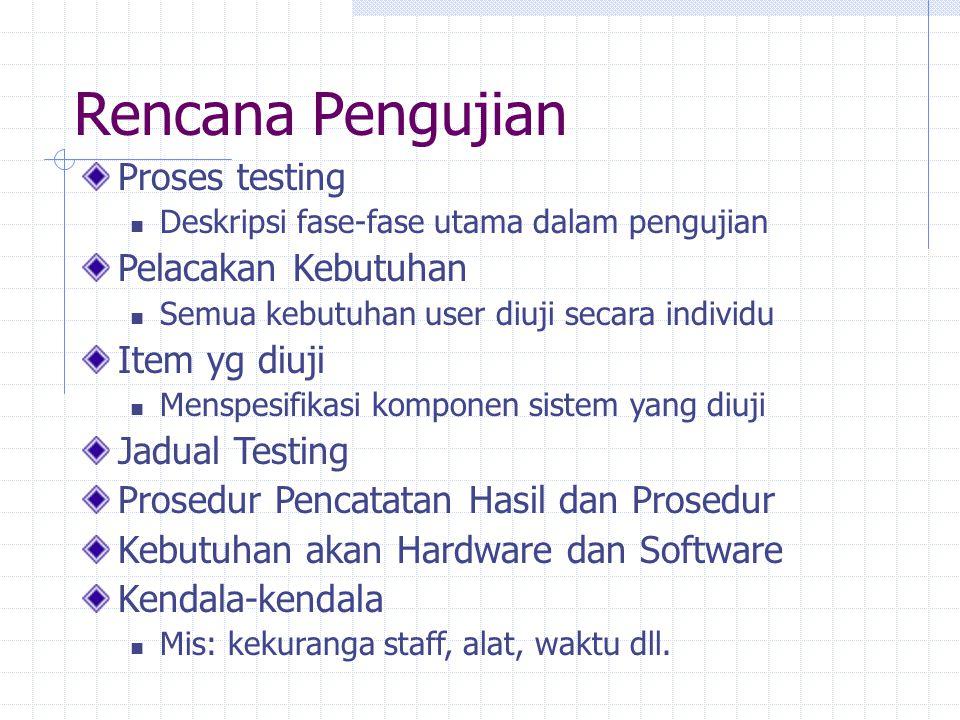 Rencana Pengujian Proses testing Deskripsi fase-fase utama dalam pengujian Pelacakan Kebutuhan Semua kebutuhan user diuji secara individu Item yg diuj