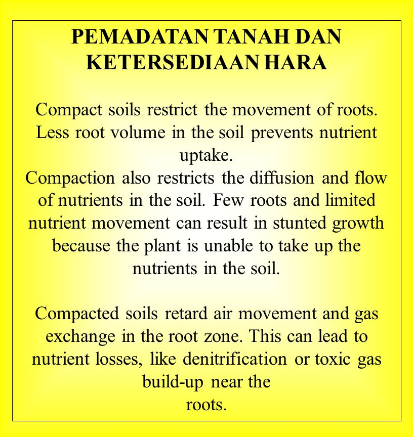 PEMADATAN TANAH DAN KETERSEDIAAN HARA Compact soils restrict the movement of roots. Less root volume in the soil prevents nutrient uptake. Compaction