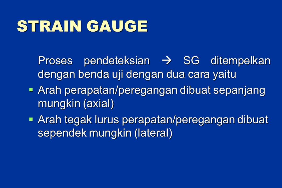 STRAIN GAUGE Proses pendeteksian  SG ditempelkan dengan benda uji dengan dua cara yaitu  Arah perapatan/peregangan dibuat sepanjang mungkin (axial)  Arah tegak lurus perapatan/peregangan dibuat sependek mungkin (lateral)