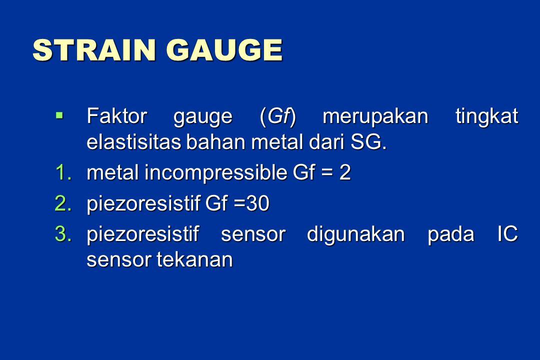 STRAIN GAUGE  Faktor gauge (Gf) merupakan tingkat elastisitas bahan metal dari SG.