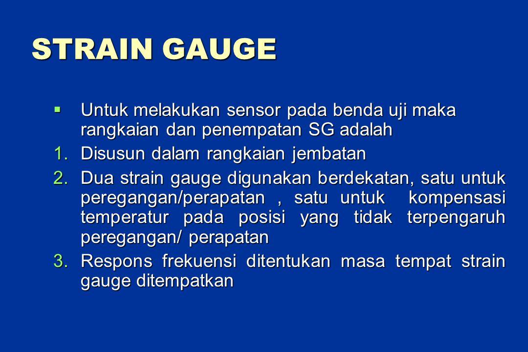 STRAIN GAUGE  Untuk melakukan sensor pada benda uji maka rangkaian dan penempatan SG adalah 1.Disusun dalam rangkaian jembatan 2.Dua strain gauge digunakan berdekatan, satu untuk peregangan/perapatan, satu untuk kompensasi temperatur pada posisi yang tidak terpengaruh peregangan/ perapatan 3.Respons frekuensi ditentukan masa tempat strain gauge ditempatkan