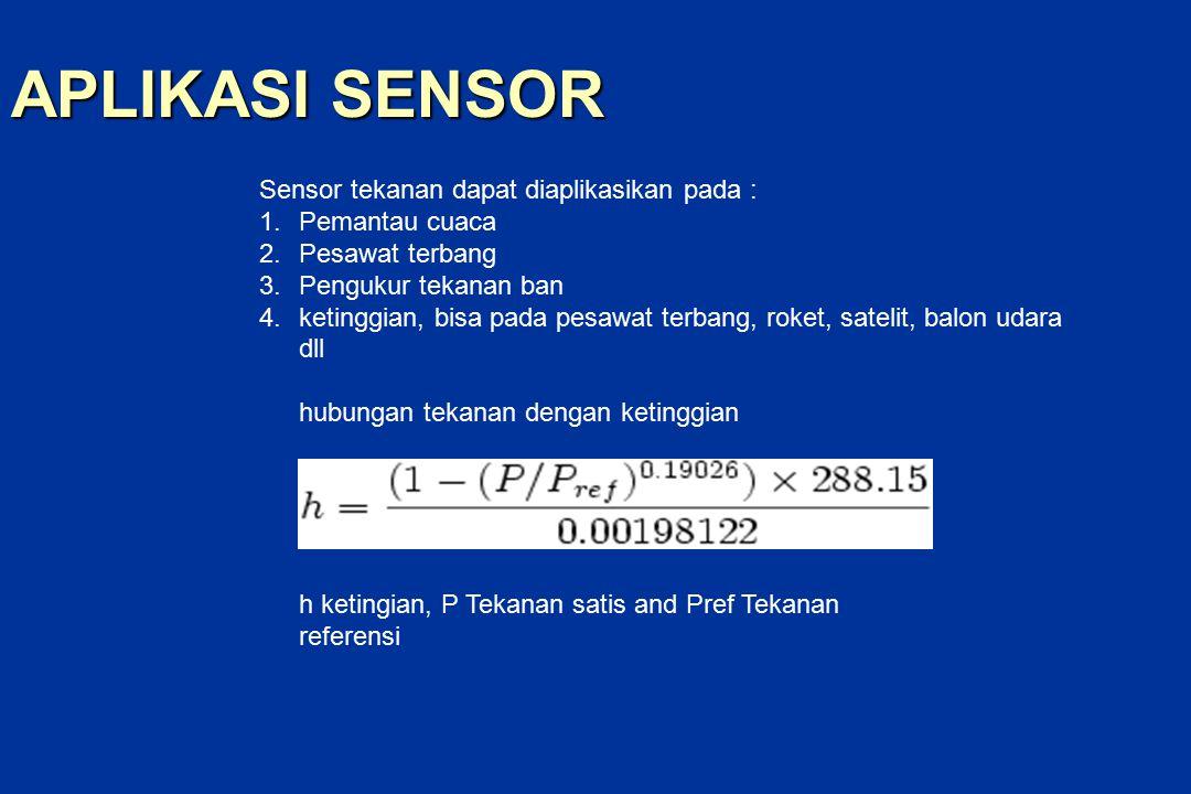 APLIKASI SENSOR Sensor tekanan dapat diaplikasikan pada : 1.Pemantau cuaca 2.Pesawat terbang 3.Pengukur tekanan ban 4.ketinggian, bisa pada pesawat terbang, roket, satelit, balon udara dll hubungan tekanan dengan ketinggian h ketingian, P Tekanan satis and Pref Tekanan referensi