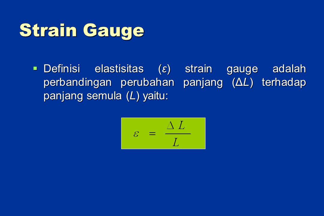 Strain Gauge  Definisi elastisitas (ε) strain gauge adalah perbandingan perubahan panjang (ΔL) terhadap panjang semula (L) yaitu: