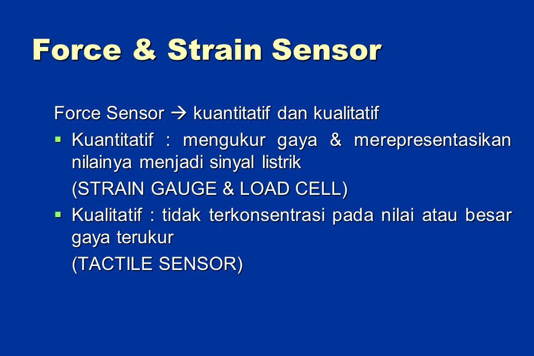 Force & Strain Sensor Force Sensor  kuantitatif dan kualitatif  Kuantitatif : mengukur gaya & merepresentasikan nilainya menjadi sinyal listrik (STRAIN GAUGE & LOAD CELL)  Kualitatif : tidak terkonsentrasi pada nilai atau besar gaya terukur (TACTILE SENSOR)