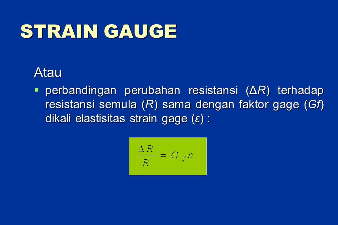 STRAIN GAUGE Atau  perbandingan perubahan resistansi (ΔR) terhadap resistansi semula (R) sama dengan faktor gage (Gf) dikali elastisitas strain gage (ε) :