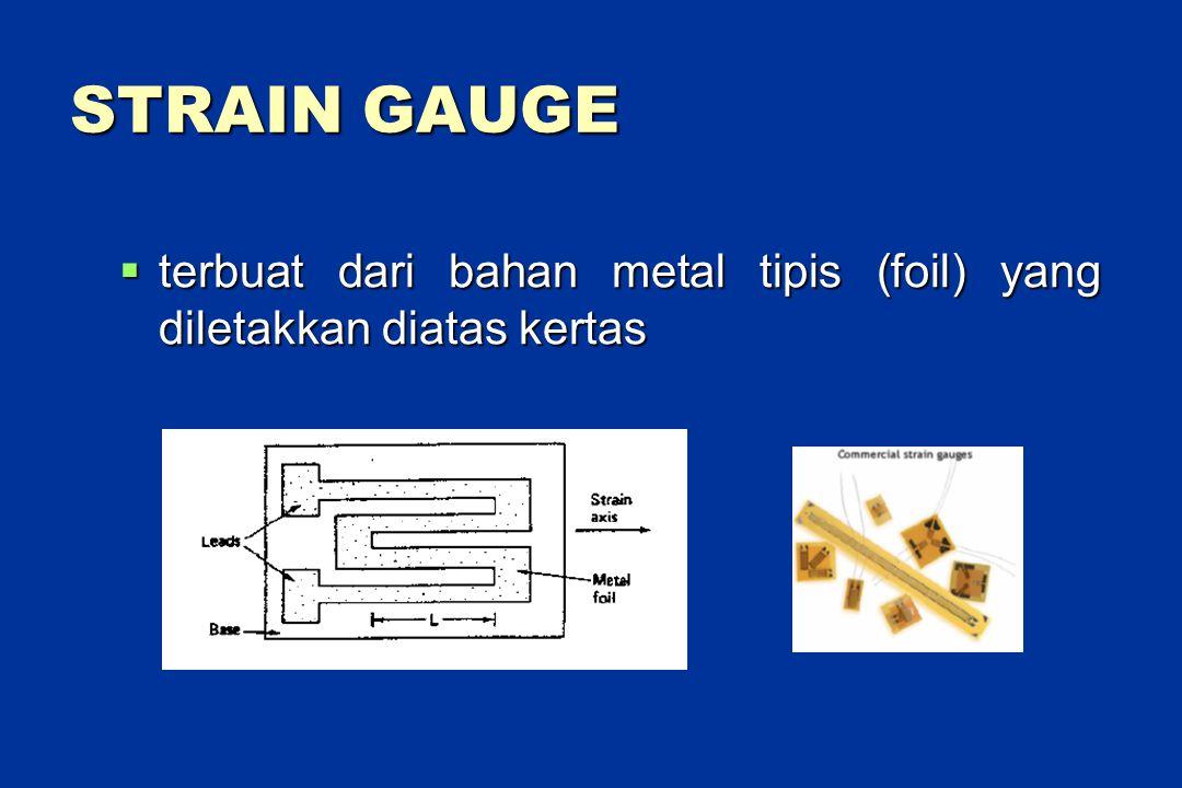 STRAIN GAUGE  terbuat dari bahan metal tipis (foil) yang diletakkan diatas kertas