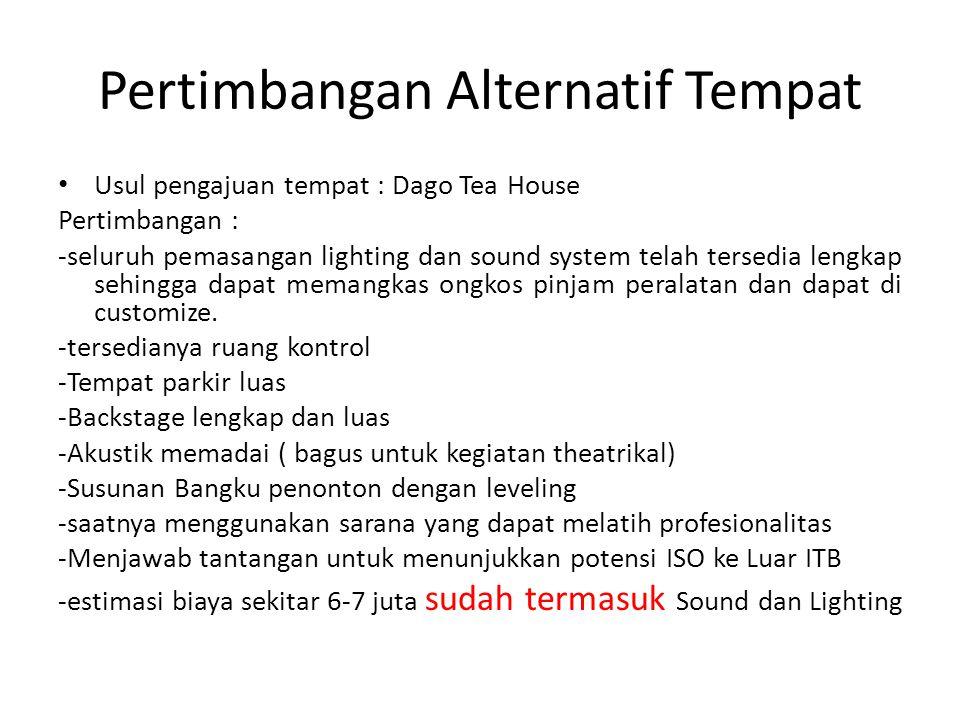 Pertimbangan Alternatif Tempat Usul pengajuan tempat : Dago Tea House Pertimbangan : -seluruh pemasangan lighting dan sound system telah tersedia leng