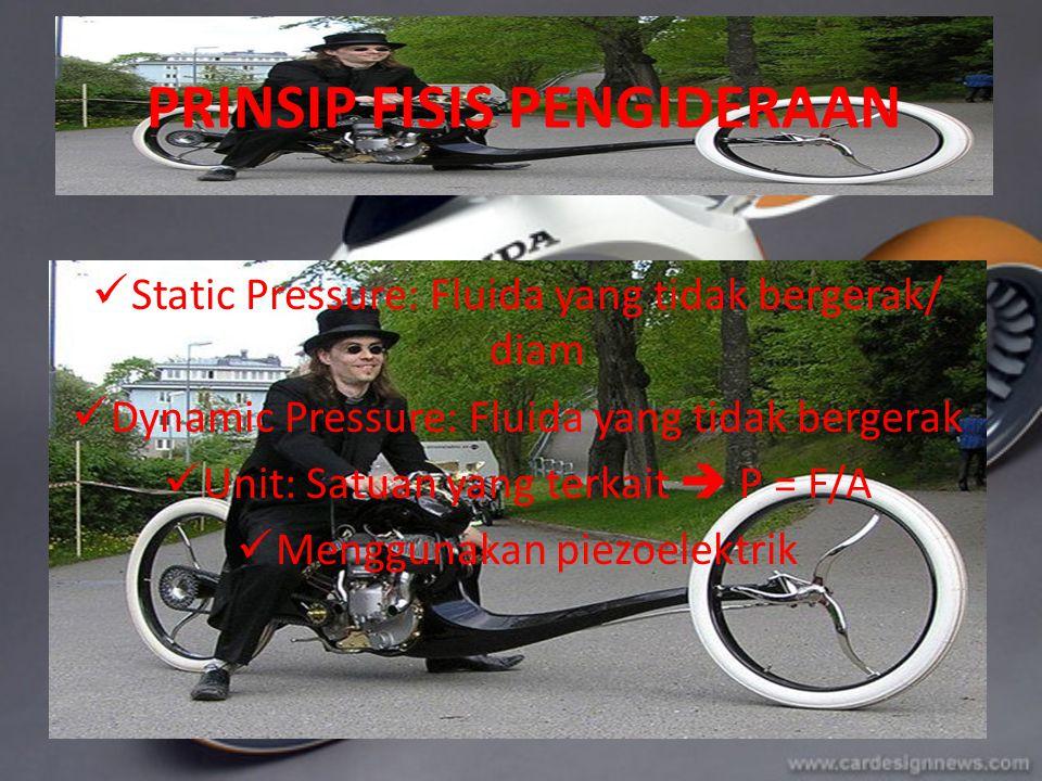 PRINSIP FISIS PENGIDERAAN Static Pressure: Fluida yang tidak bergerak/ diam Dynamic Pressure: Fluida yang tidak bergerak Unit: Satuan yang terkait  P = F/A Menggunakan piezoelektrik