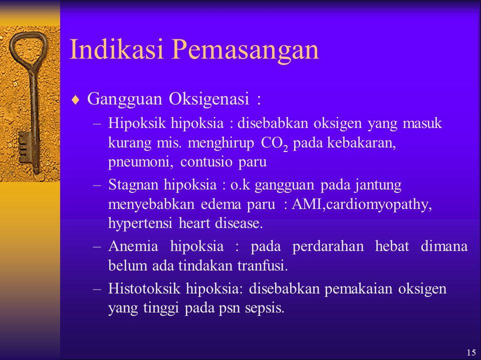 15 Indikasi Pemasangan  Gangguan Oksigenasi : –Hipoksik hipoksia : disebabkan oksigen yang masuk kurang mis.