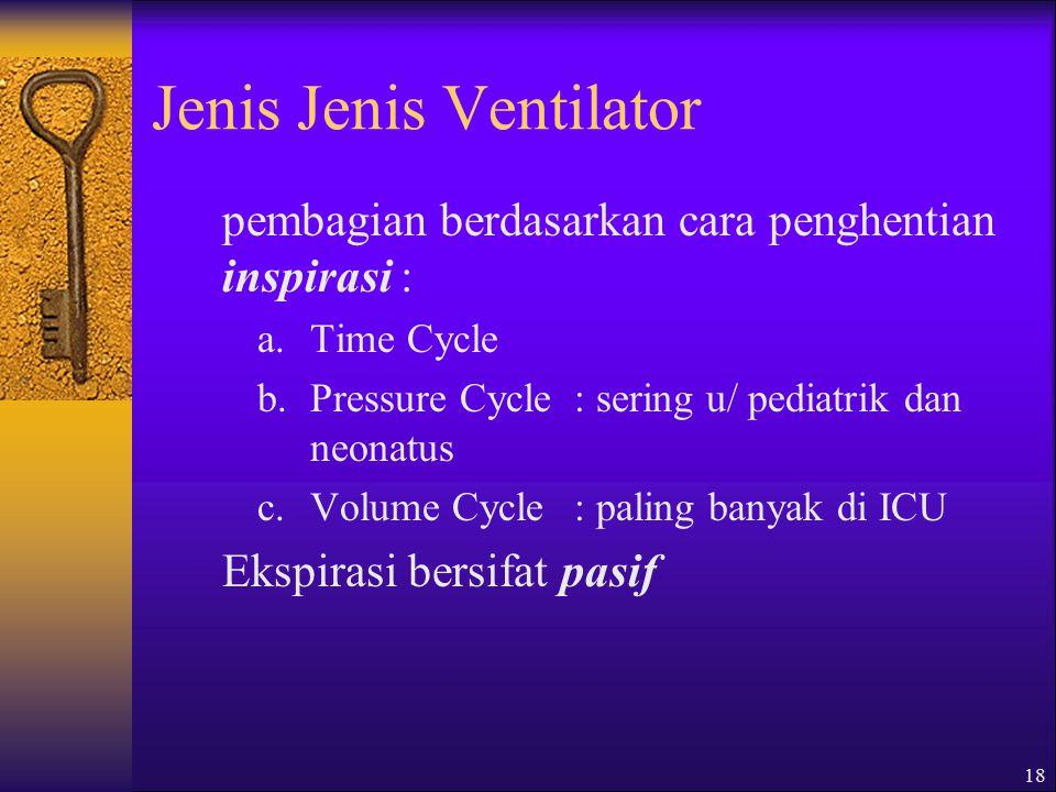 18 Jenis Jenis Ventilator pembagian berdasarkan cara penghentian inspirasi : a.Time Cycle b.Pressure Cycle: sering u/ pediatrik dan neonatus c.Volume Cycle : paling banyak di ICU Ekspirasi bersifat pasif