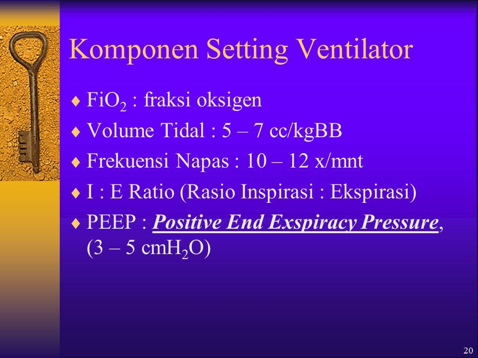 20 Komponen Setting Ventilator  FiO 2 : fraksi oksigen  Volume Tidal : 5 – 7 cc/kgBB  Frekuensi Napas : 10 – 12 x/mnt  I : E Ratio (Rasio Inspirasi : Ekspirasi)  PEEP : Positive End Exspiracy Pressure, (3 – 5 cmH 2 O)