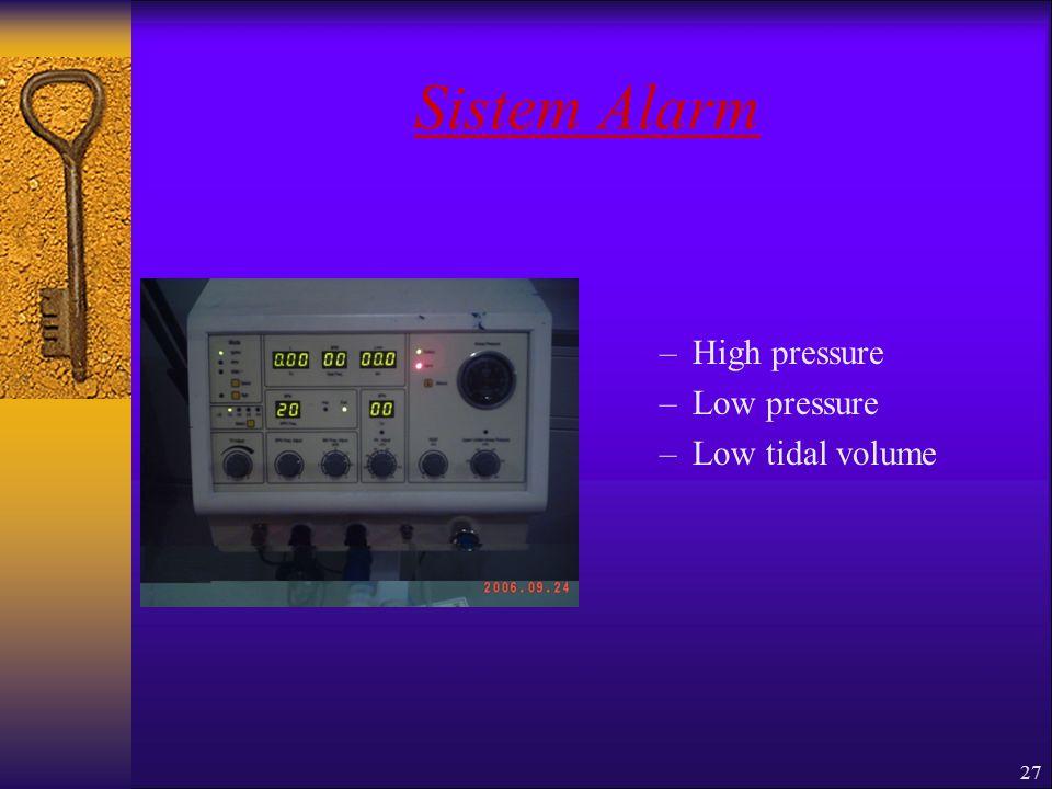 27 Sistem Alarm –High pressure –Low pressure –Low tidal volume