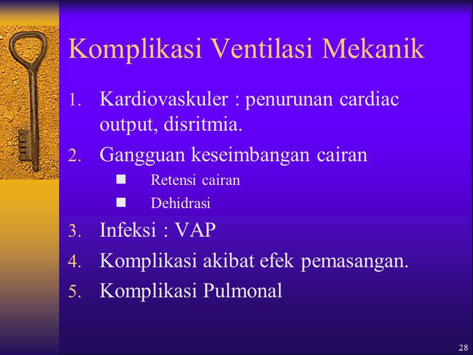 28 Komplikasi Ventilasi Mekanik 1.Kardiovaskuler : penurunan cardiac output, disritmia.