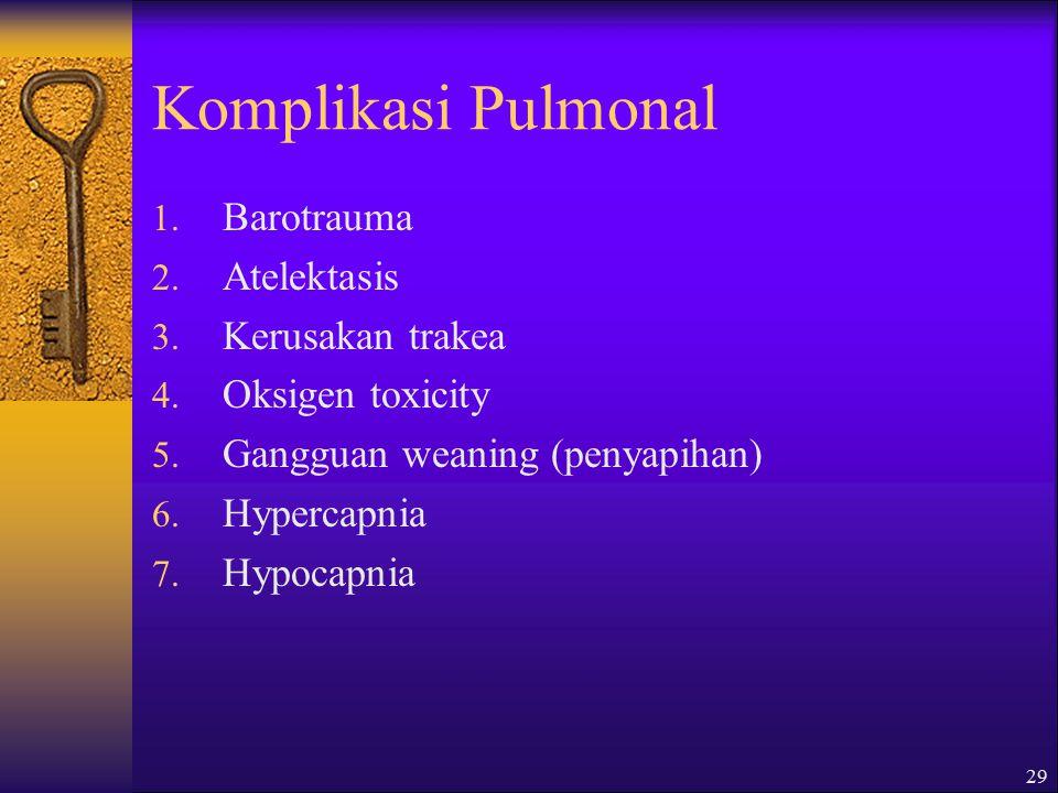 29 Komplikasi Pulmonal 1.Barotrauma 2. Atelektasis 3.