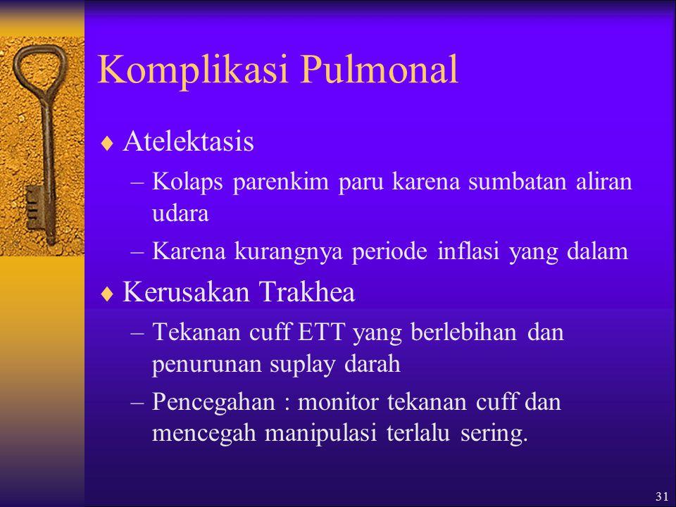 30 Komplikasi Pulmonal  Barotrauma : trauma ok tekanan tinggi  Volu trauma: trauma ok volume tinggi  Tanda-tanda : –Meningkatnya Paw –Penurunan sua