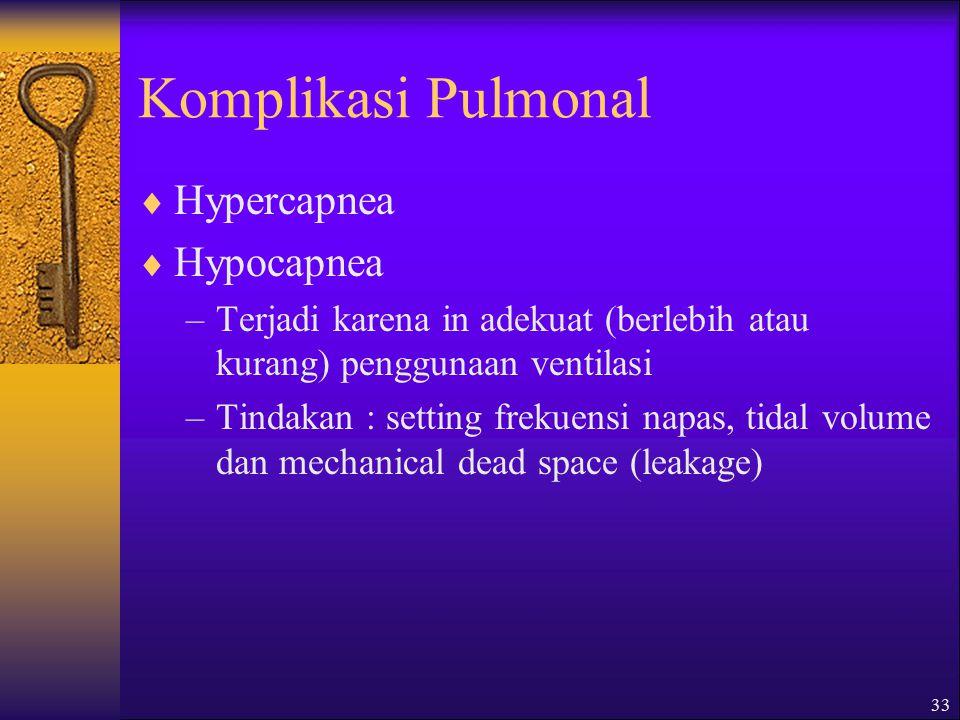 32 Komplikasi Pulmonal  Oxygen toxicity –Disebabkan penggunaan oksigen (FiO 2 ) tinggi dalam waktu yang lama –Pencegahan : monitor BGA dan titrasi pe
