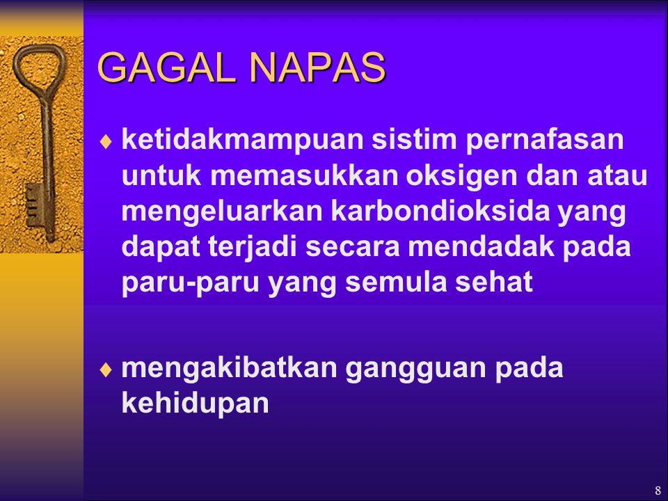 8 GAGAL NAPAS  ketidakmampuan sistim pernafasan untuk memasukkan oksigen dan atau mengeluarkan karbondioksida yang dapat terjadi secara mendadak pada paru-paru yang semula sehat  mengakibatkan gangguan pada kehidupan