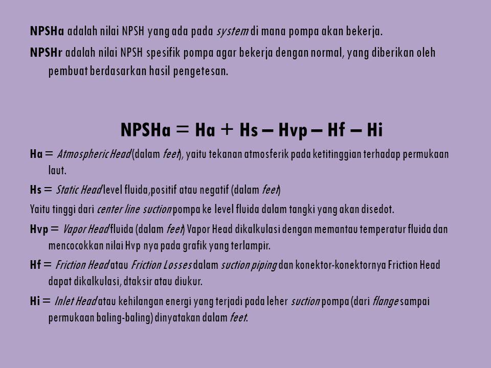 NPSHa adalah nilai NPSH yang ada pada system di mana pompa akan bekerja. NPSHr adalah nilai NPSH spesifik pompa agar bekerja dengan normal, yang diber